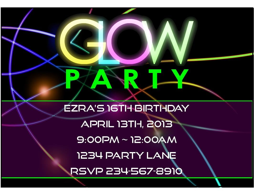 17 Best Images About Glow Party Invitations On Pinterest