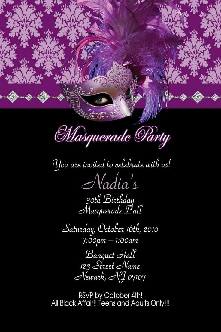 17 Best Images About Masquerade Party Invitations On Pinterest