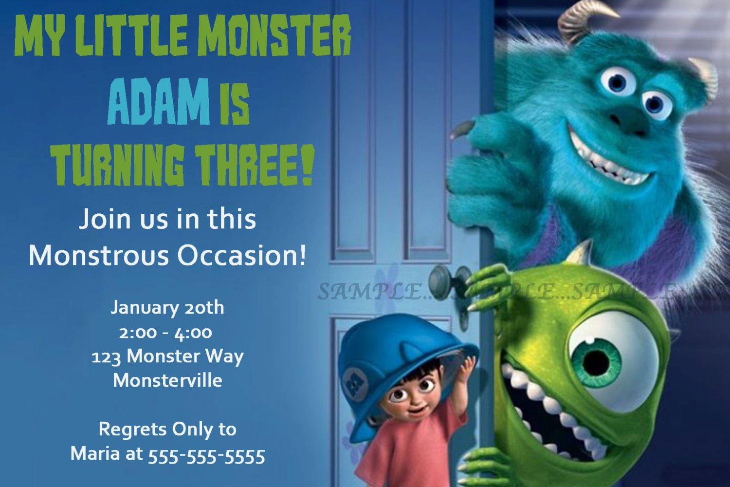 17 Best Images About Monster Inc Invitations On Pinterest