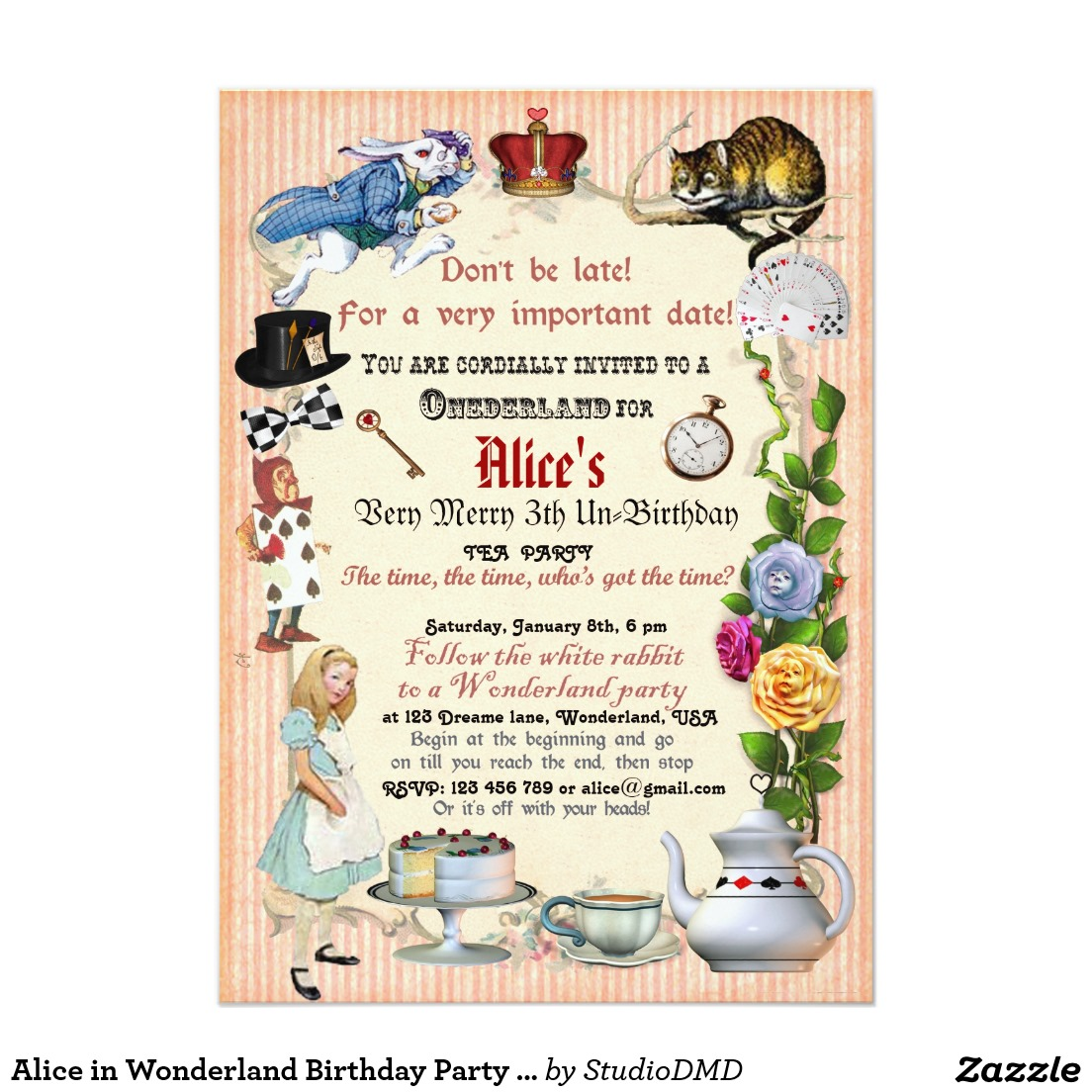 Alice In Wonderland Party Invitations Mickey Mouse