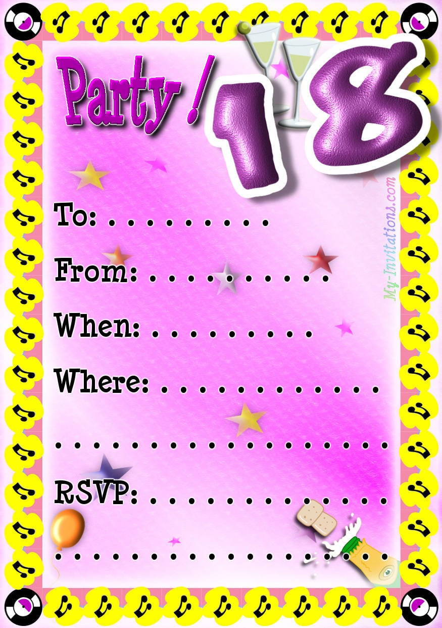 18th Birthday Party Invitations Free Alluring 18th Birthday Party