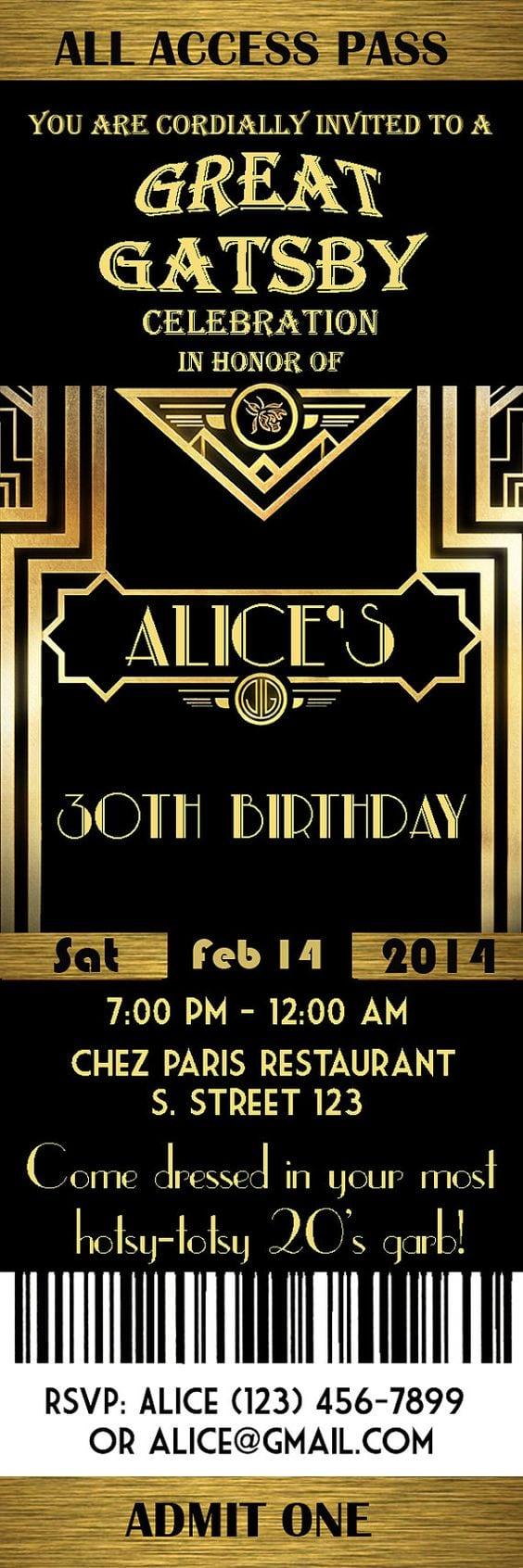 1920s Party Invites Cloudinvitation Com Themed Birthday