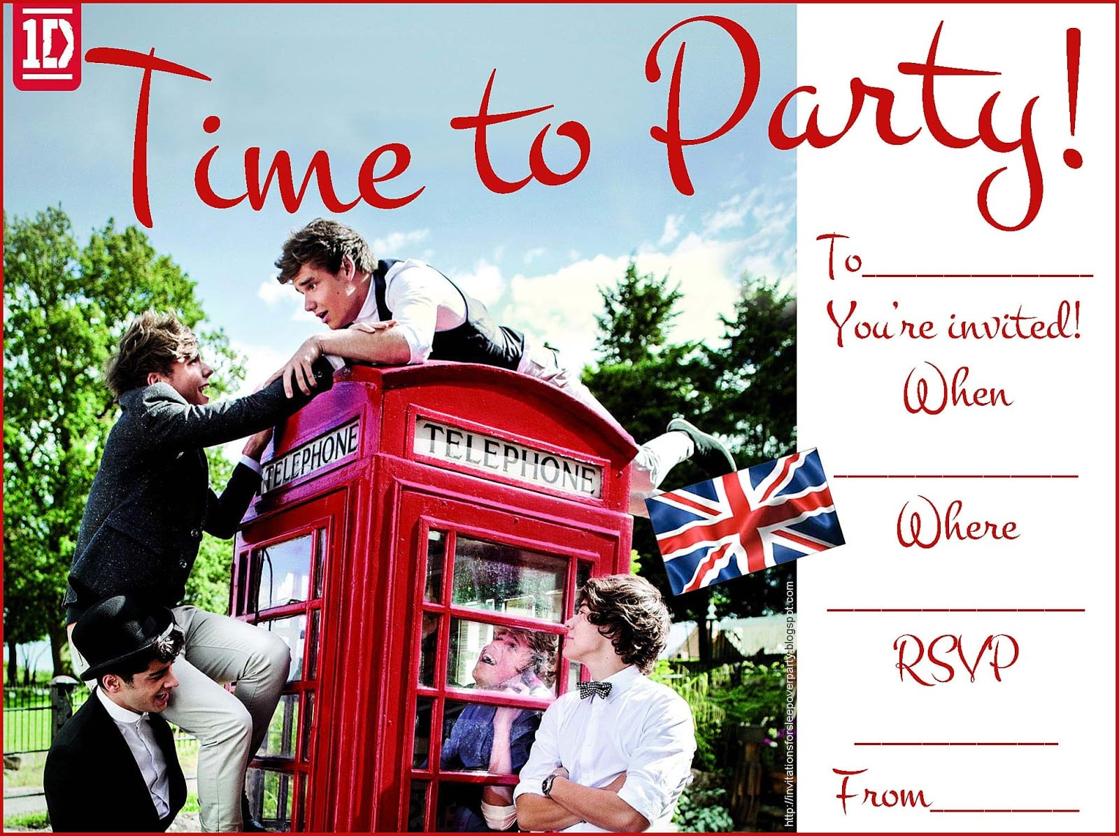 1d One Direction Party Invitations