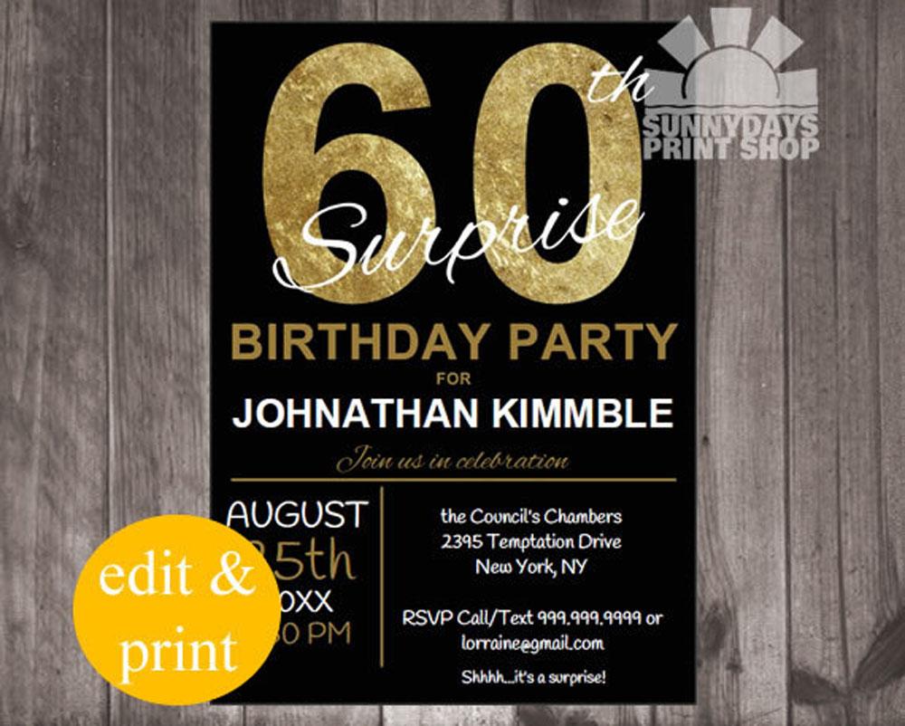 20+ Ideas 60th Birthday Party Invitations Card Templates