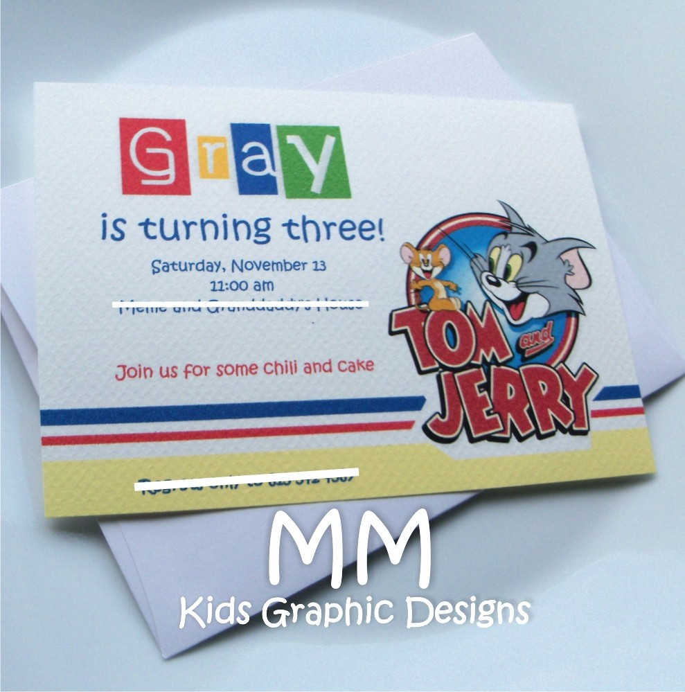 20 Tom And Jerry Personalized Birthday Party Invitations (includes