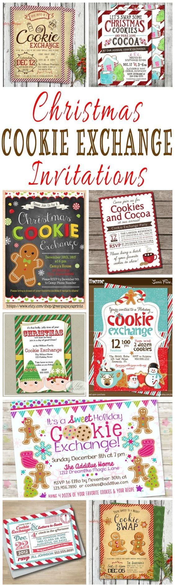 25 Christmas Cookie Exchange Party Invitations