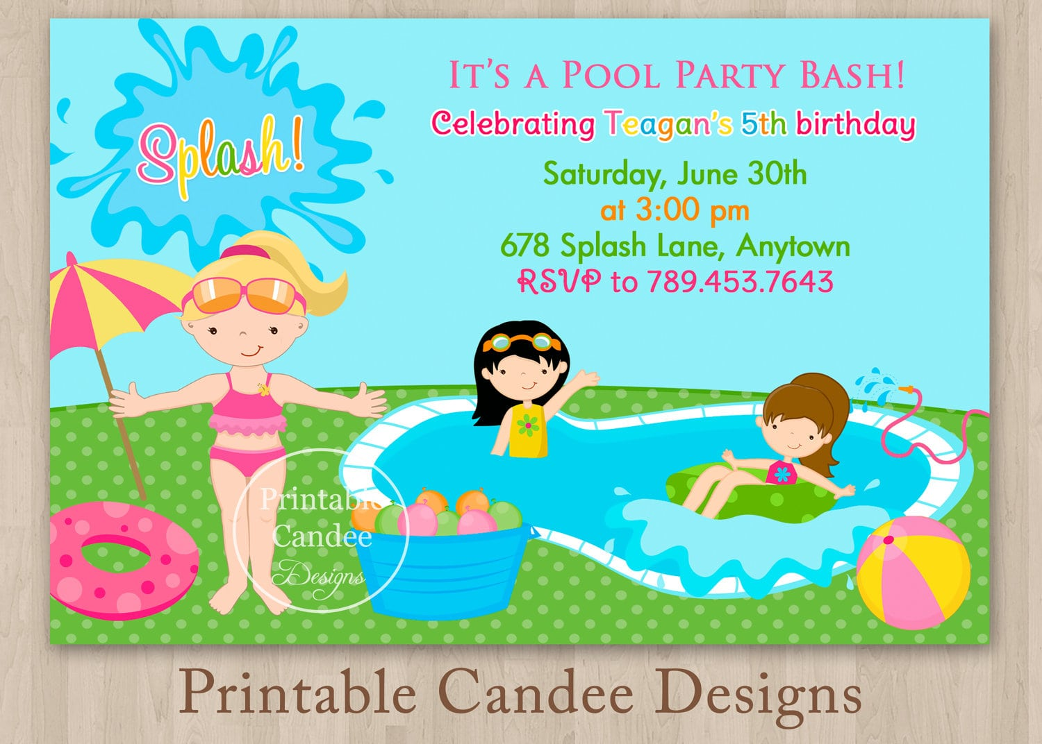 Pool Party Invite Template Free from www.itbof.com
