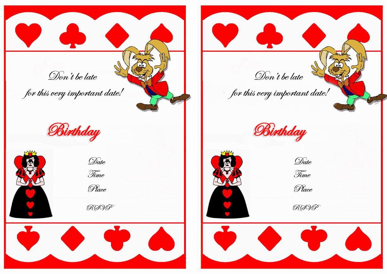 3 Nice Cartoons Alice In Wonderland Birthday Invitations