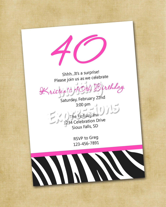 40th Birthday Invitations Wording Funny