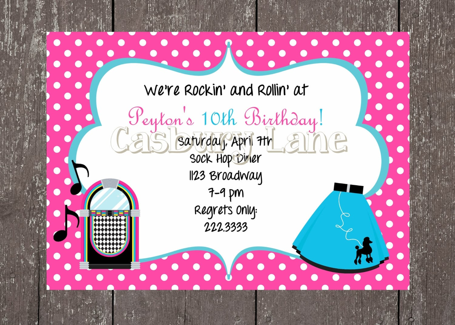 50's Party Invites And Party