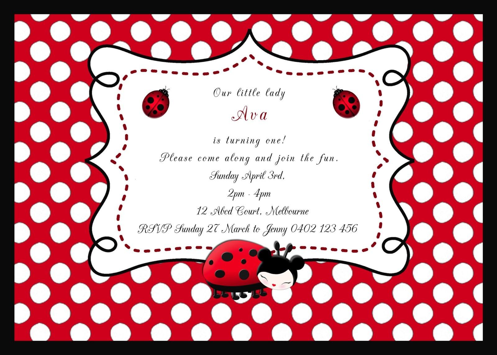 Best Ladybird Party Invitations Photos - Invitation Card Ideas ...