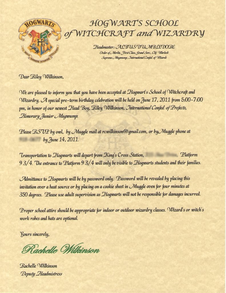 6 Wonderful Harry Potter Party Invitations Free Printable