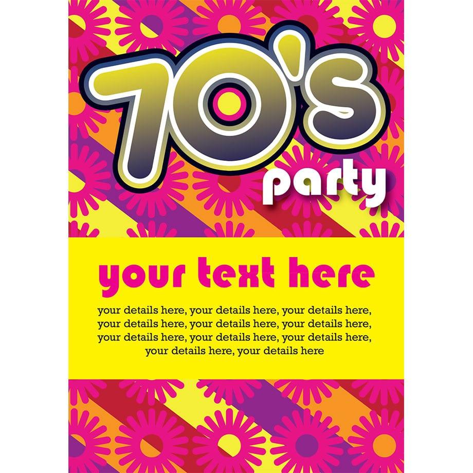 70s Birthday Party Invitations