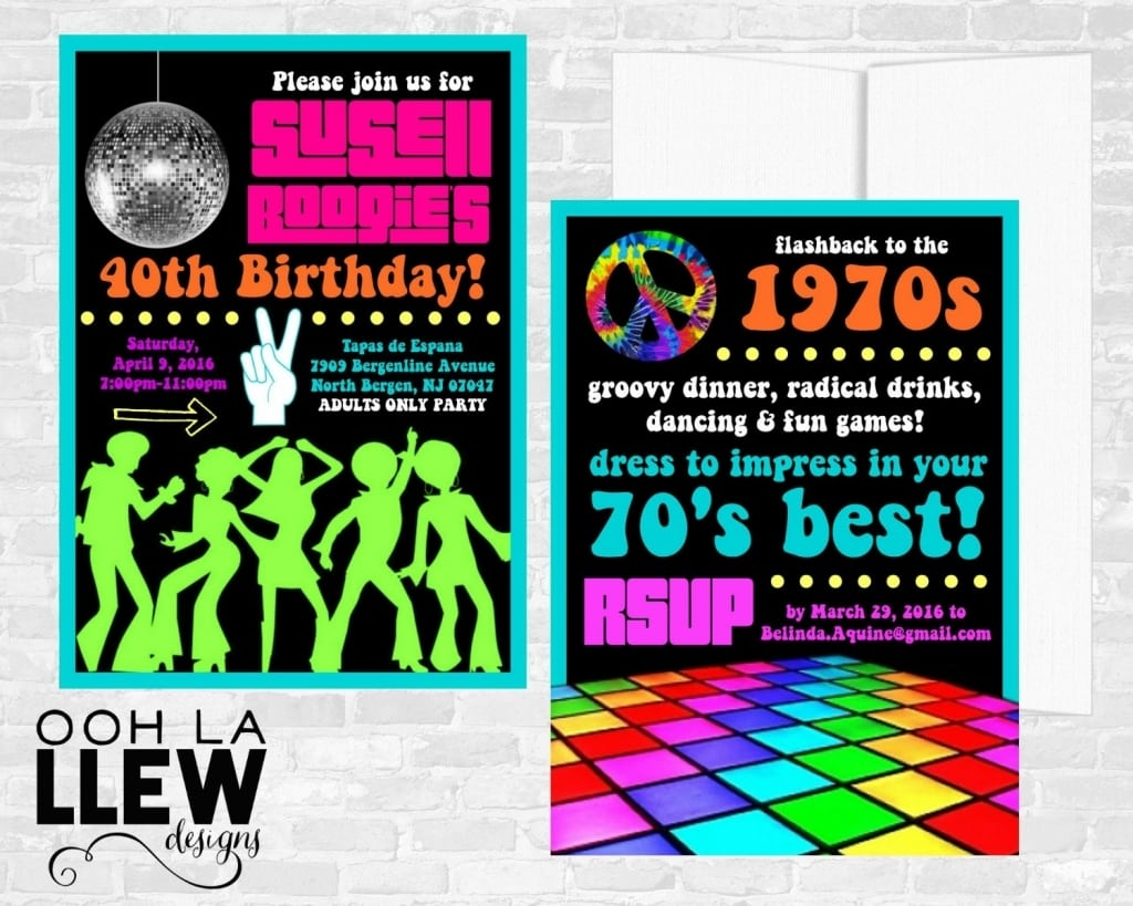 70s Theme Party Invitations 70s Theme Party Etsy