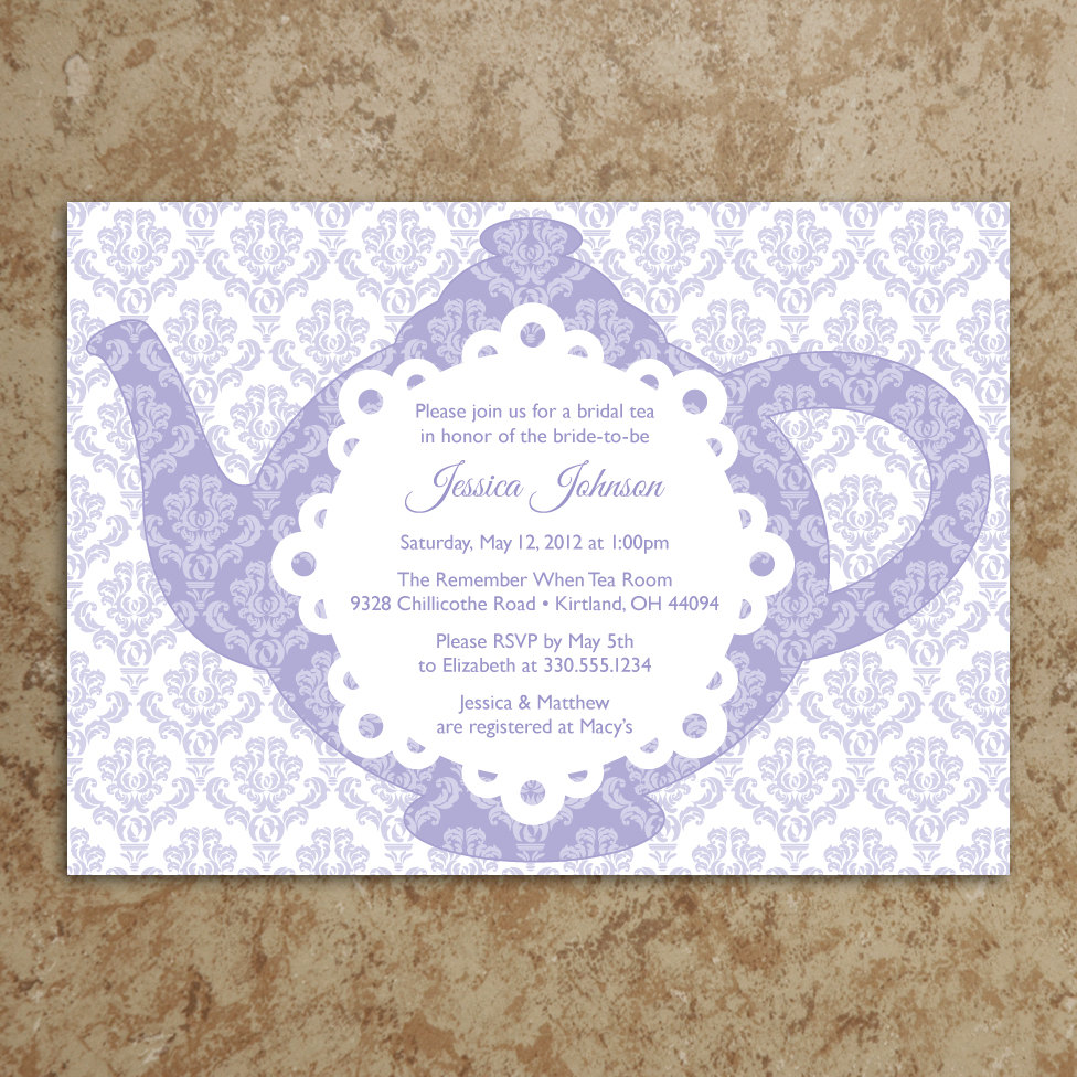 Tea Party Themed Bridal Shower Invitations - Mickey Mouse ...