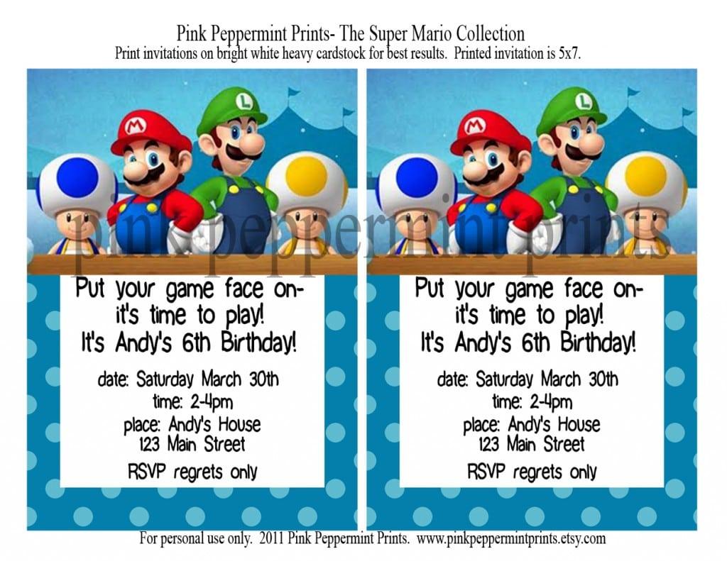7 Plain Super Mario Party Invitations Printable Free
