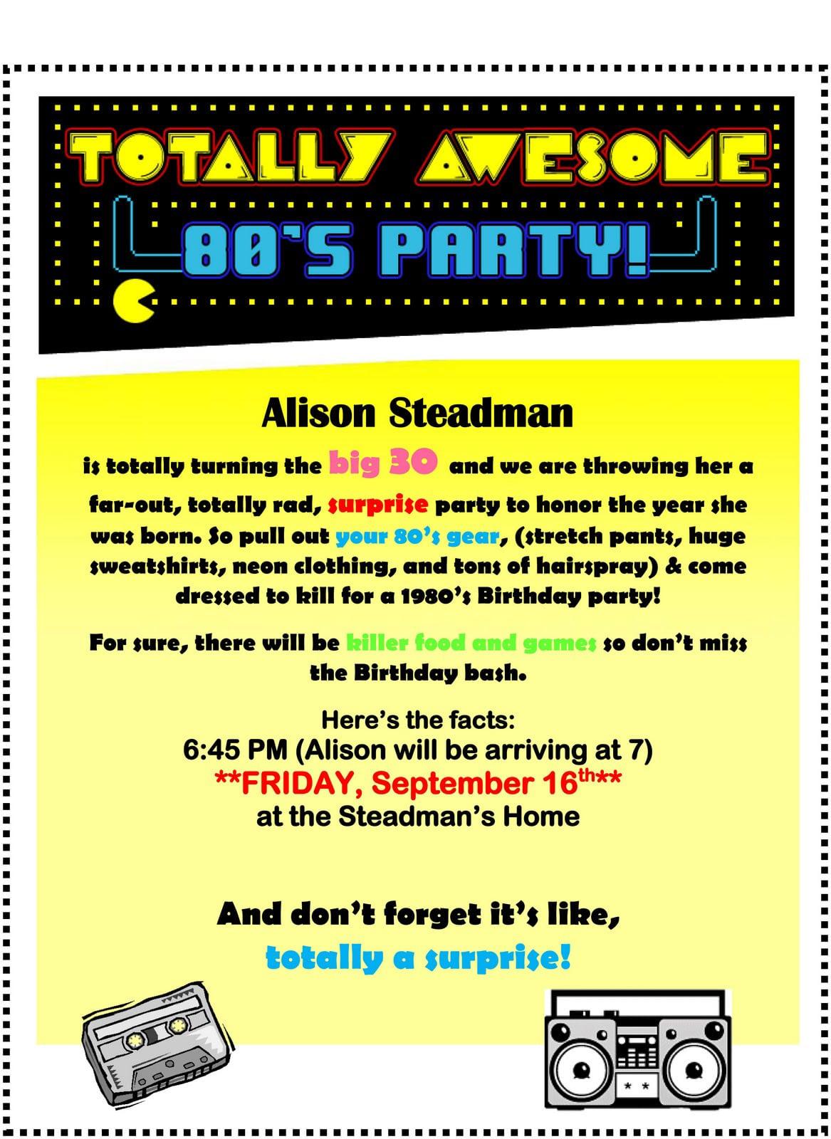 80s Party Invitations – Gangcraft Net