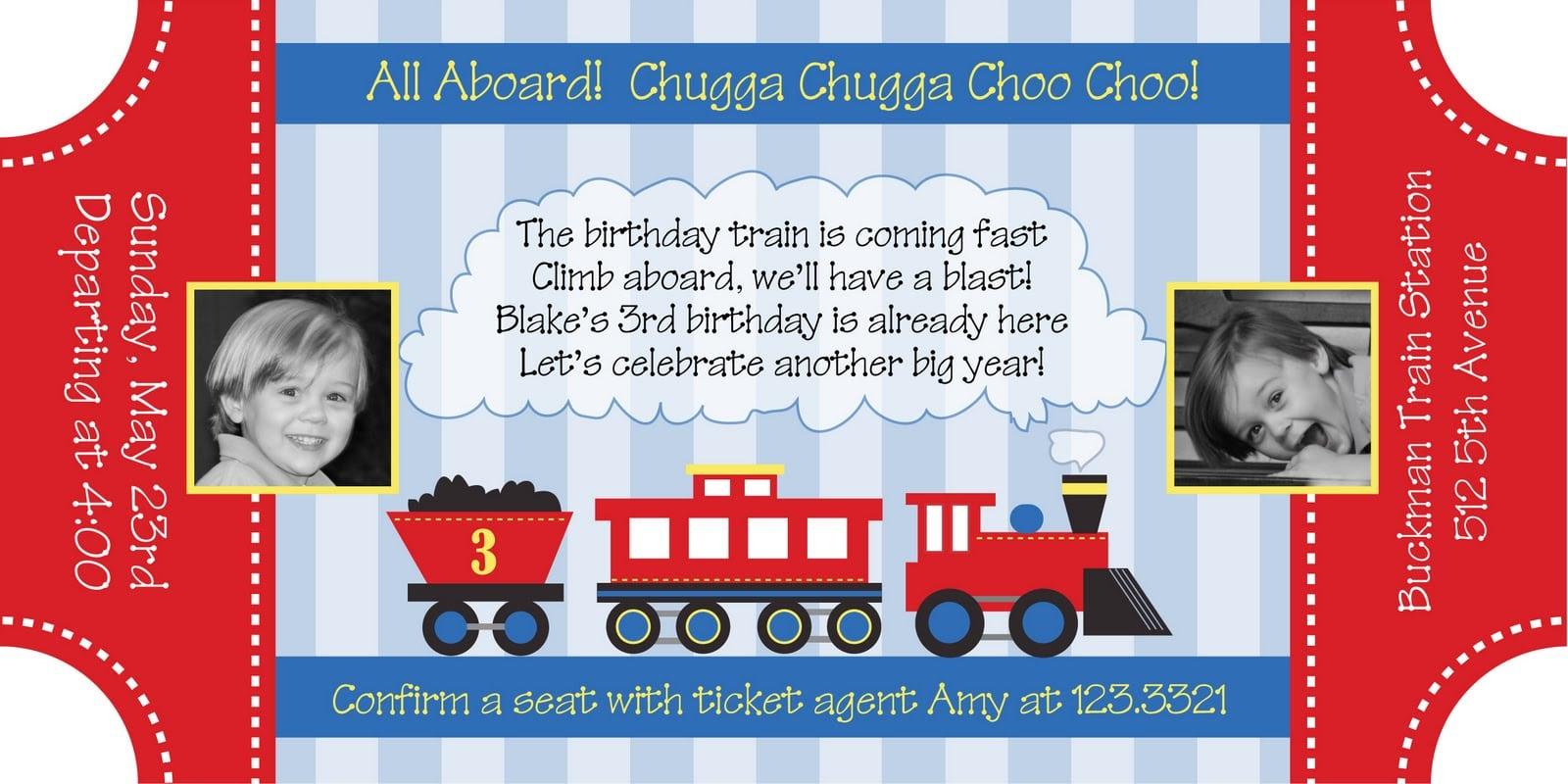 8 Fantastic Train Party Invitation Template
