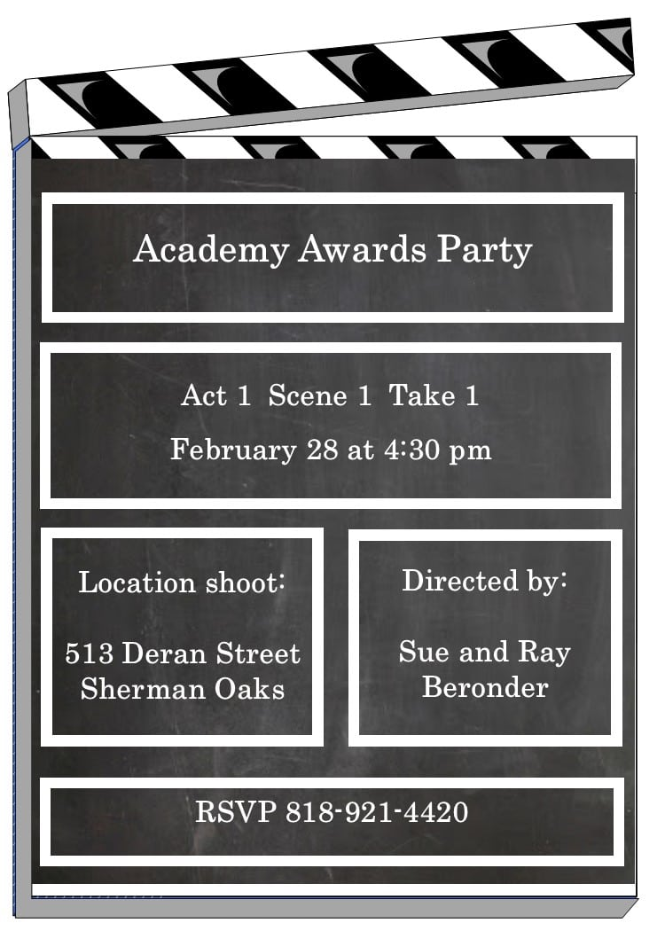 Academy Awards Party Invitations Oscar Awards Party Invitations