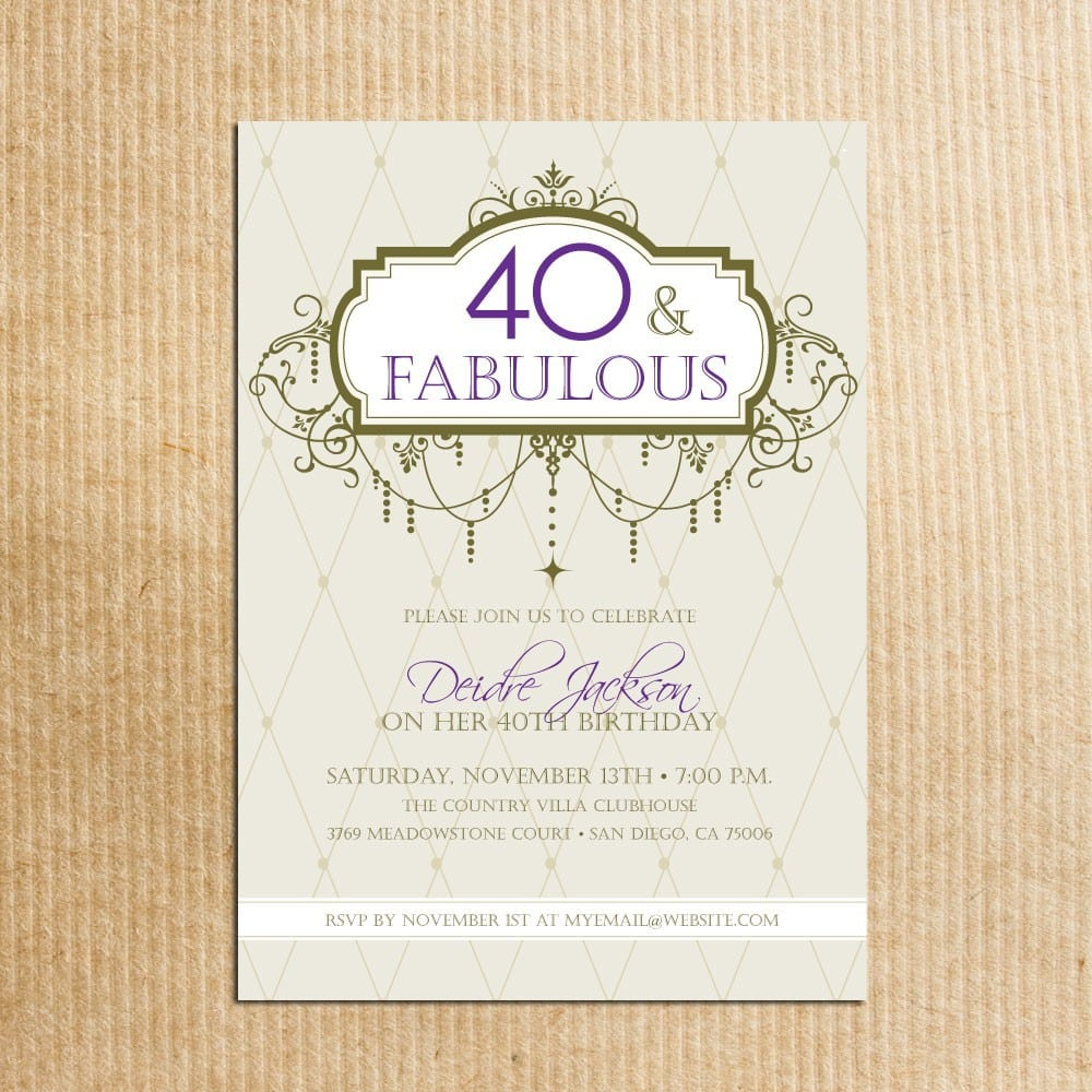 Adult 40th Birthday Party Invitations Digital File