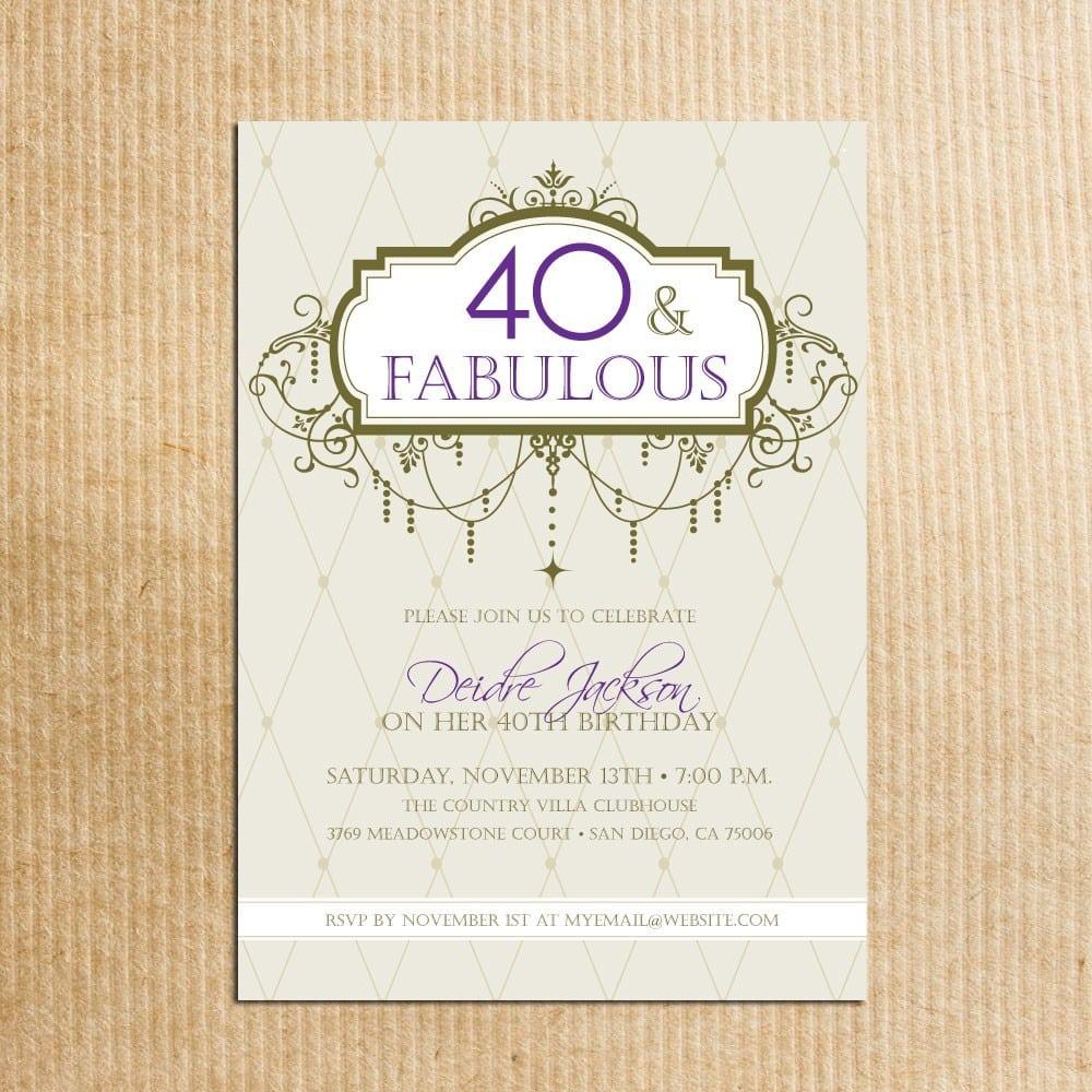 Adult 40th Birthday Party Invitations Digital File