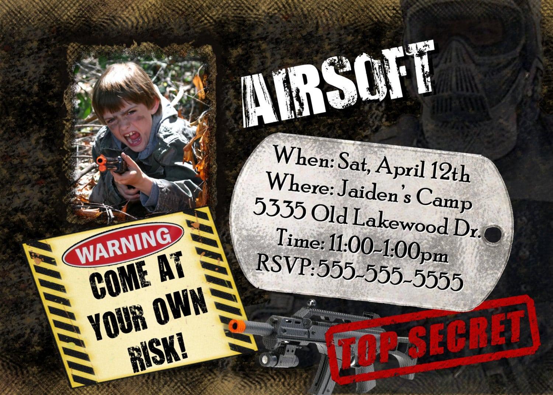 Airsoft Invitation Photo Boys Birthday Party Theme Camo Camouflage