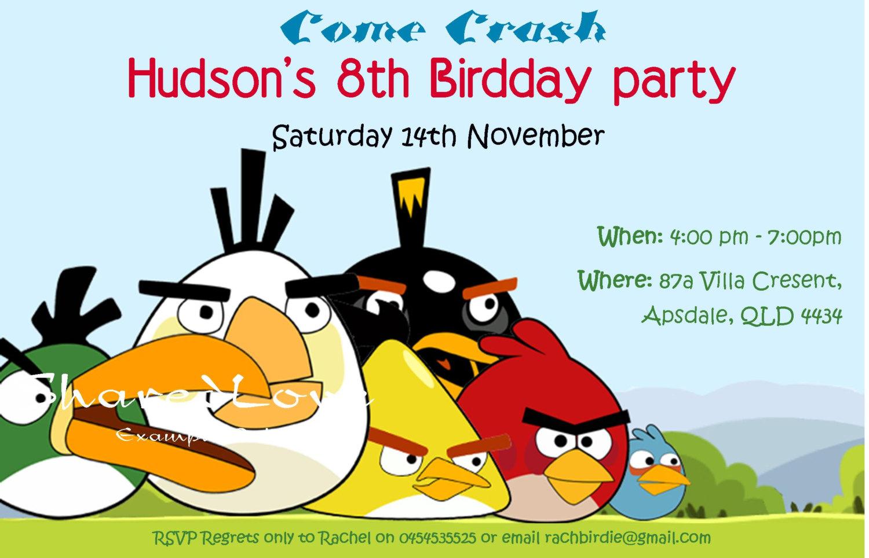 Angry Birds Birthday Party Invitations Templates