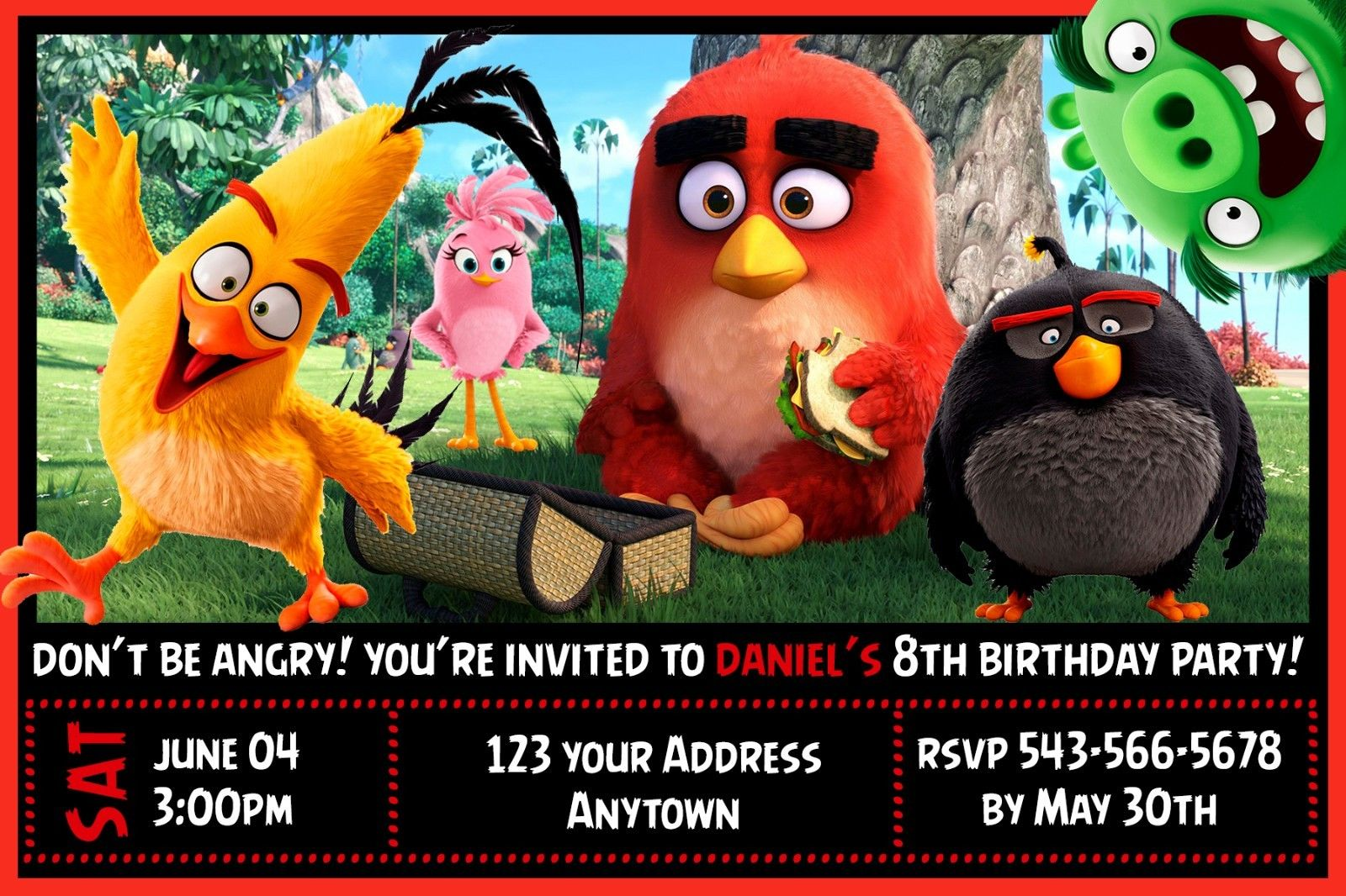 Angry Birds Movie Birthday Party Invitations Personalized Custom