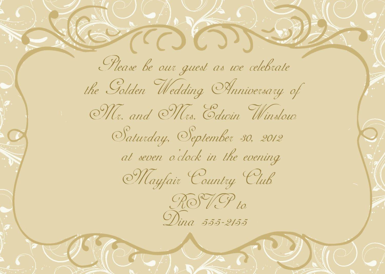 Anniversary 50th Wedding Anniversary Invitation Cards Card And