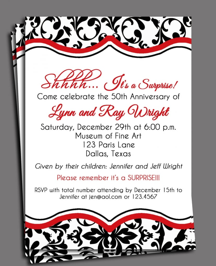 Anniversary Invitation Surprise 25th On Etsy, $16 39 Cad