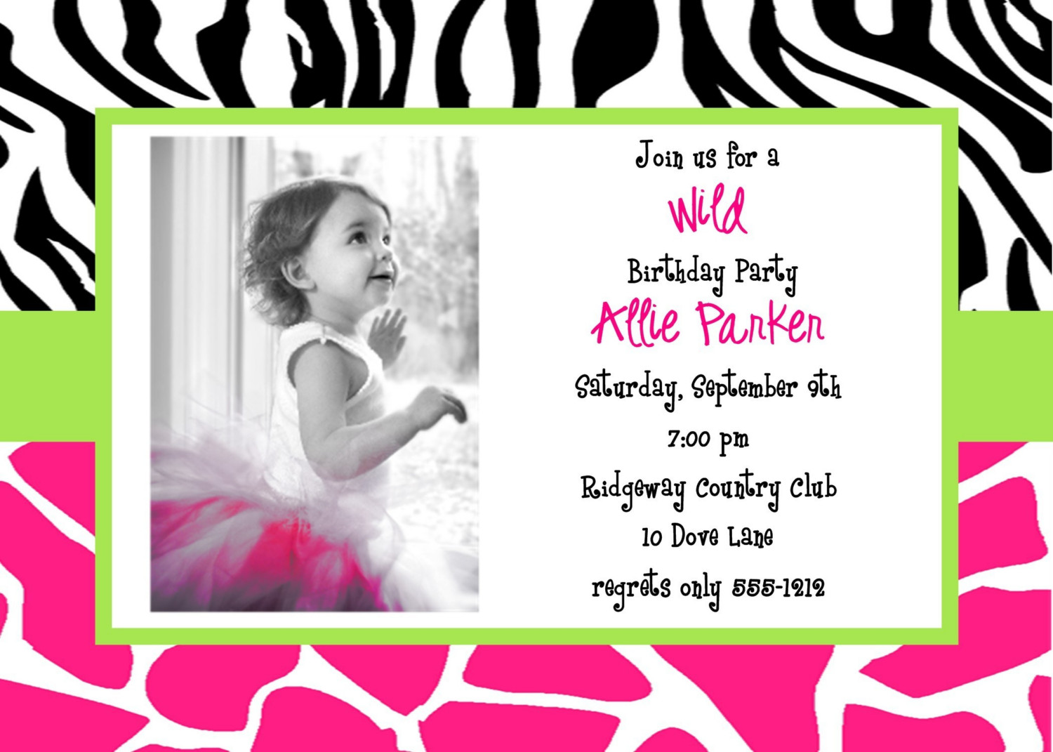 Appealing Simple Birthday Invitation Card And Template For Little
