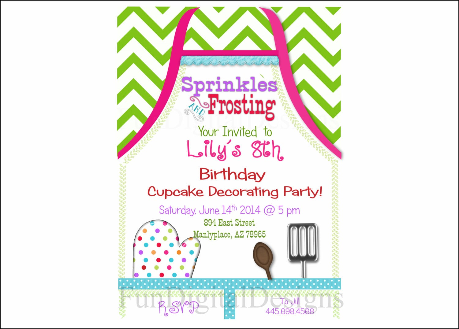 Apron Cupcake Decorating Birthday Party Invitation Printable