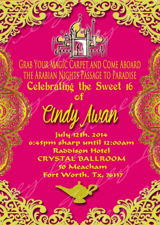 Arabian Nights Invitation Sweet Sixteen Invite Genie In A