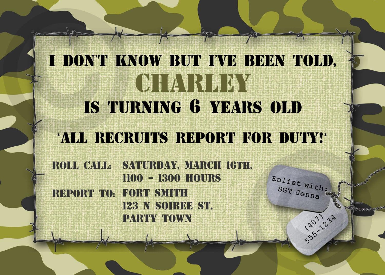 Army Birthday Invitations – Gangcraft Net