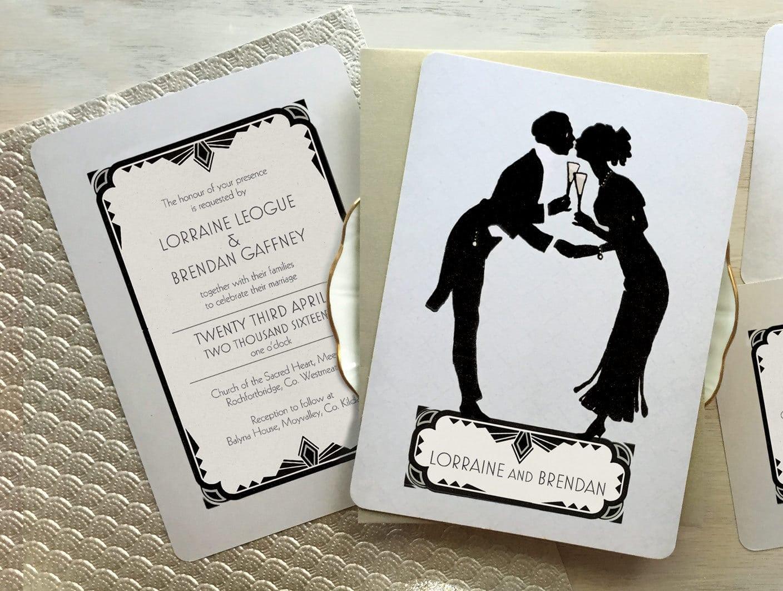 Art Deco Wedding Invitations 1920s Wedding Invitation