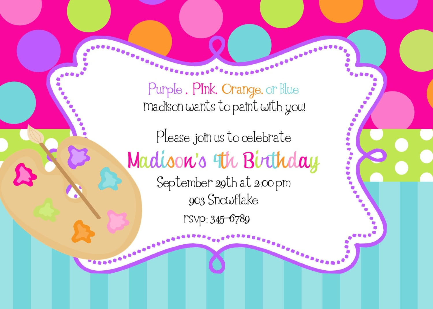 Art Painting Birthday Party Invitations Art Party Printable