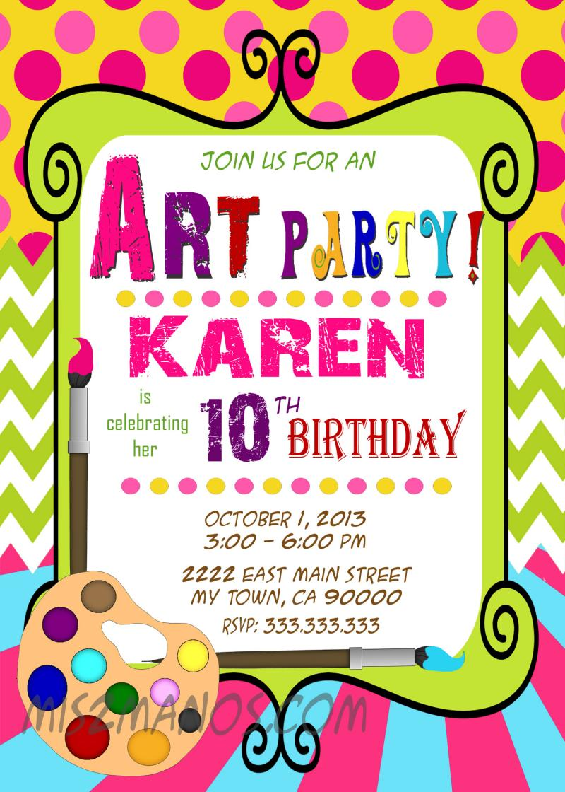 Art Party Invitations