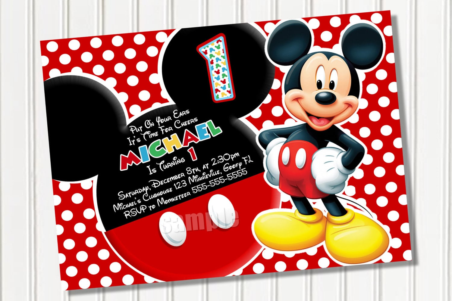 Awesome Mickey Mouse Party Invitation Template With Red Polka Dot