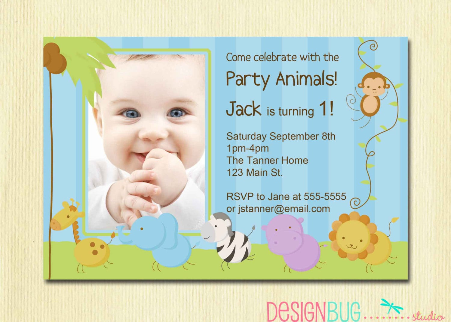 Baby Boy 1st Birthday Party Invitations