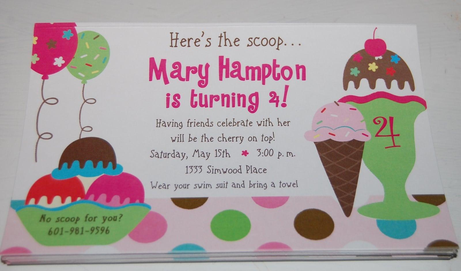 Baby Face Design  Ice Cream Sundae Birthday Party Invitation