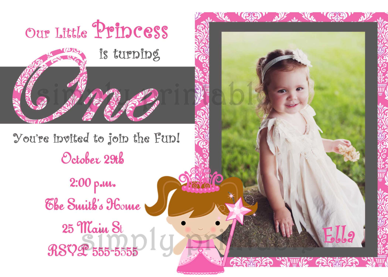 Baby Girl First Birthday Invitations