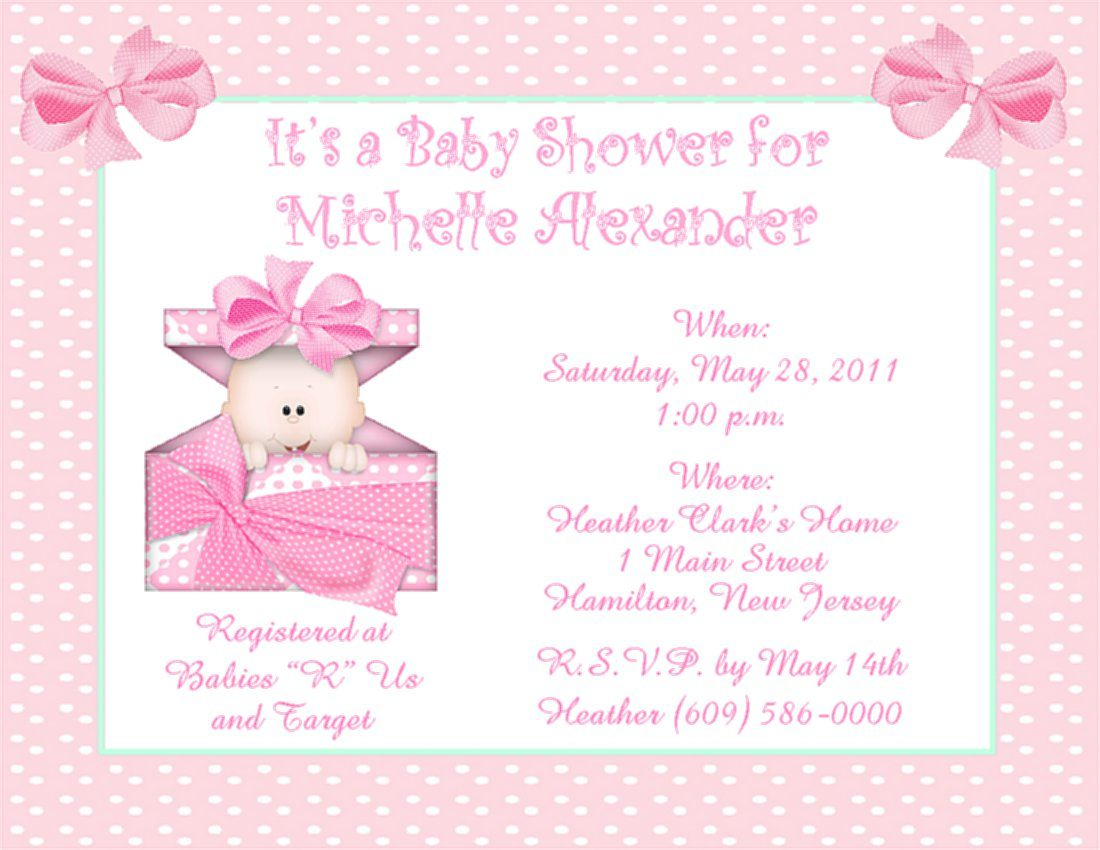 Baby Girl Shower Invitations   Baby Shower Invitations At Party