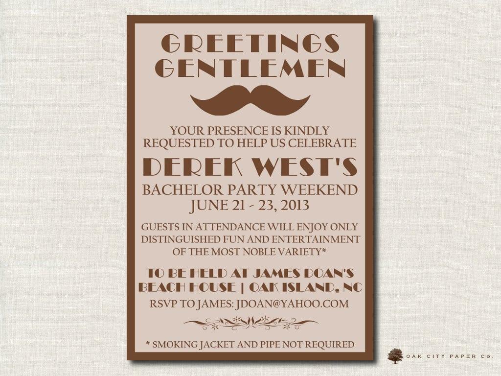 Bachelor Party Invitation Retro Mustache Printable
