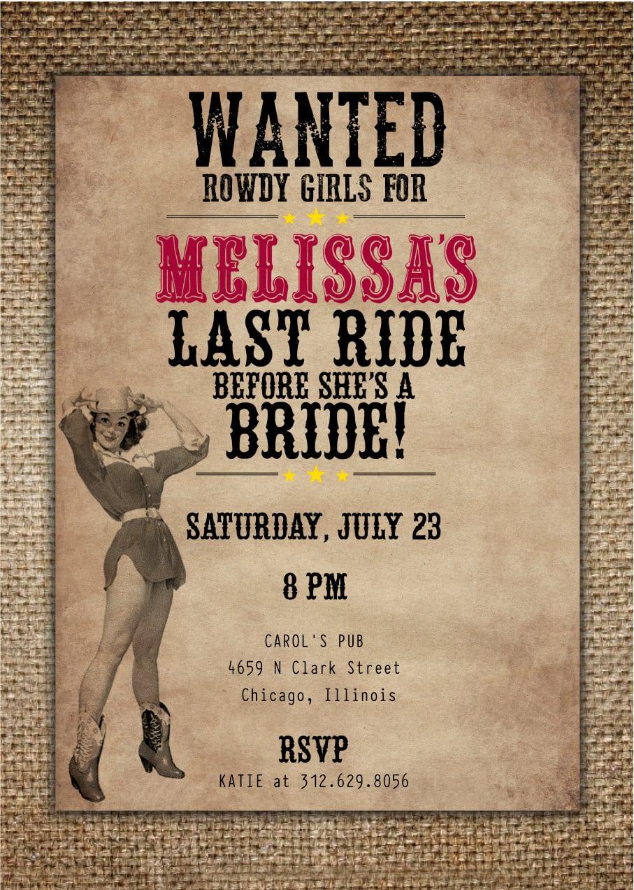 Bachelorette Party Hen's Night Invitation   Bride's