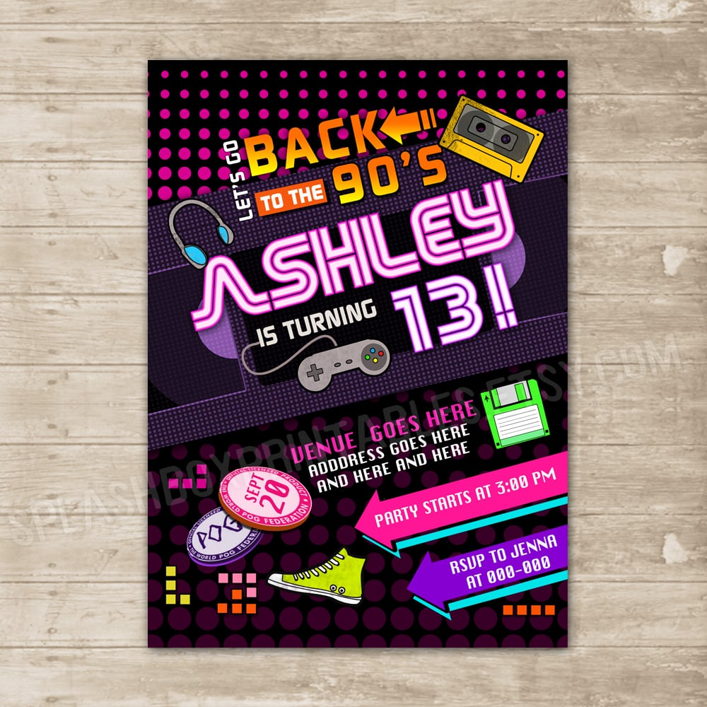 Back To The 90's Invitation Nineties Party Invite Flashback
