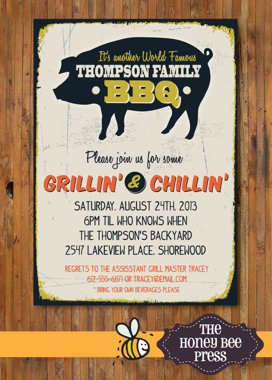 Back Yard Bbq Party Invitation Pig Roast Memorial Day