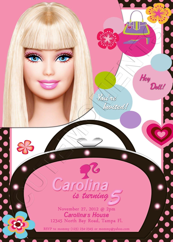 Barbie Personalized Birthday Party Invitation