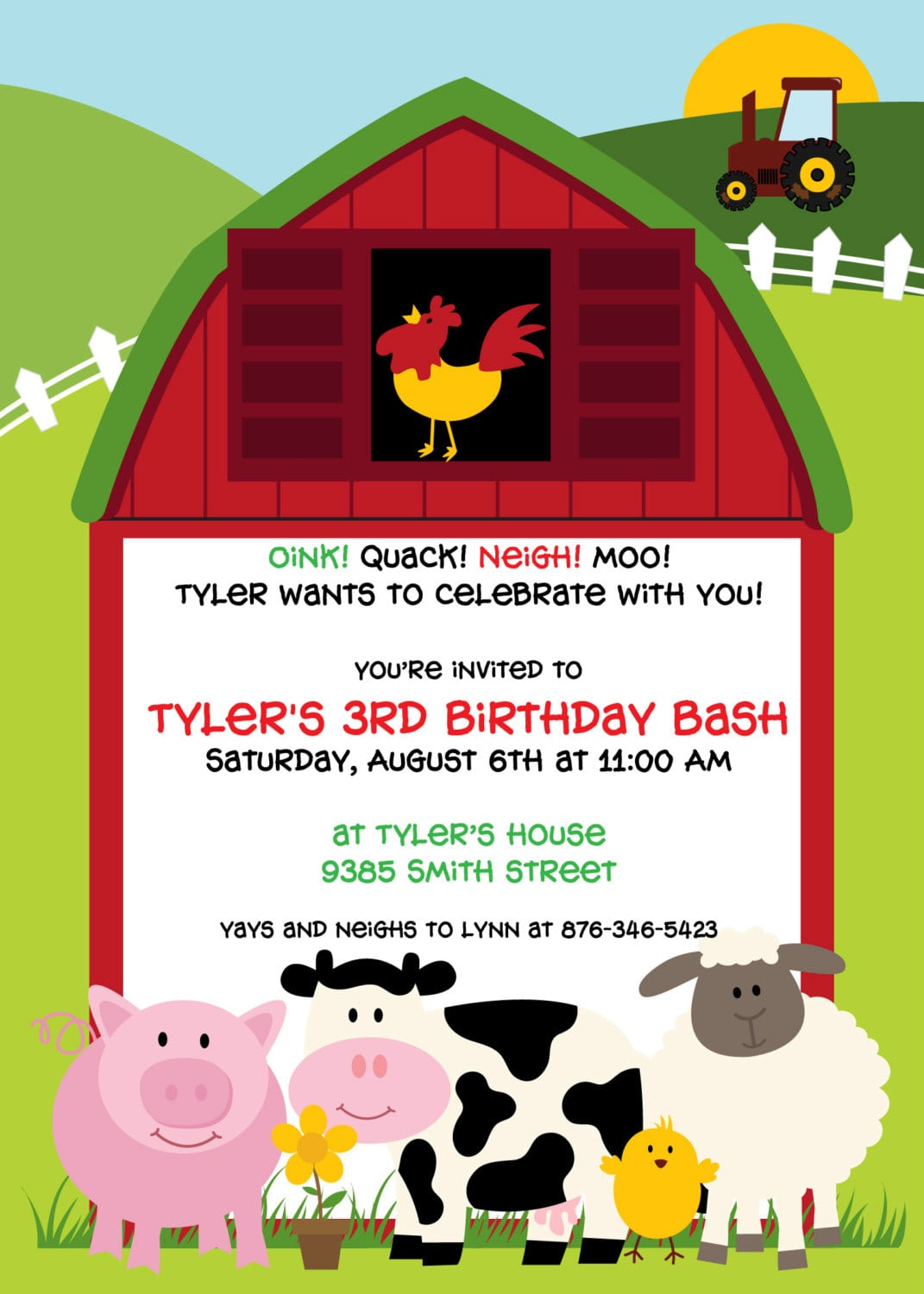 Barnyard Bash Birthday Party Invitation