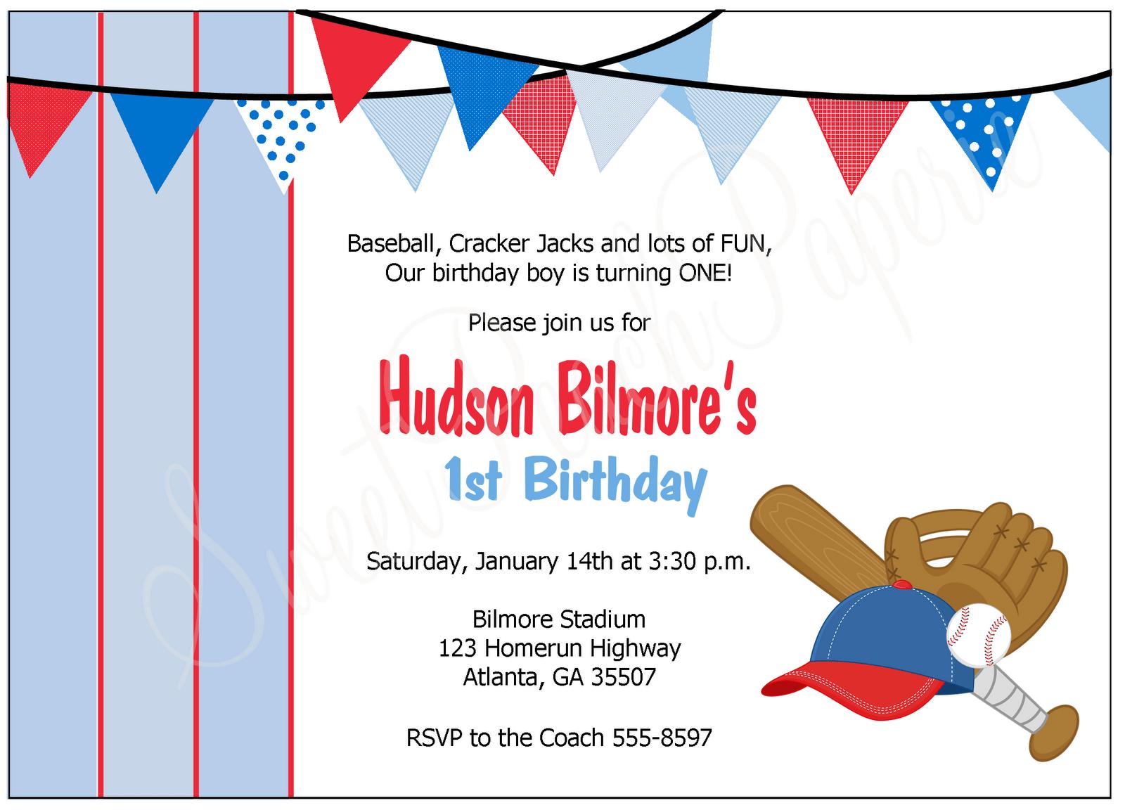 Baseball Party Invitations