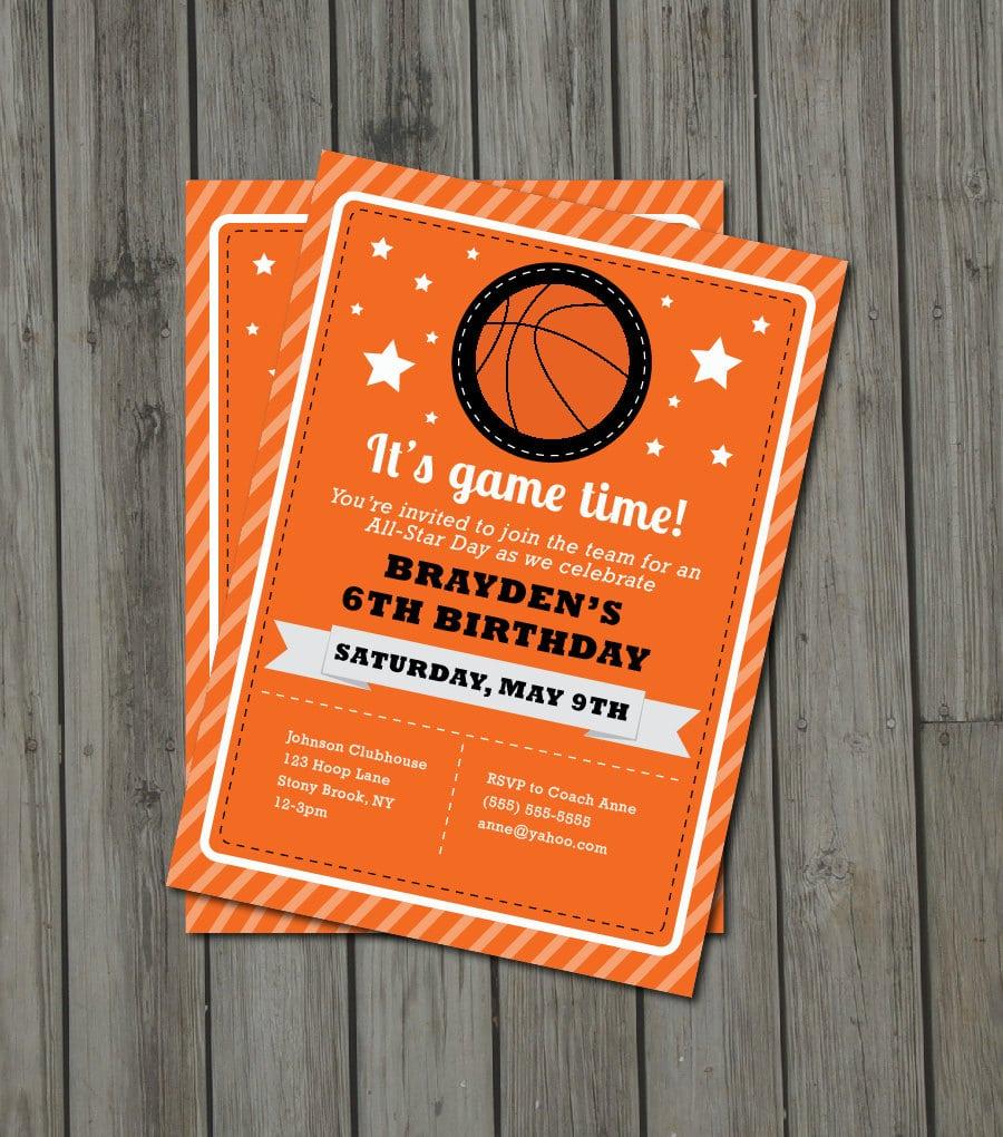Basketball Birthday Party Invitation Basketball Invite